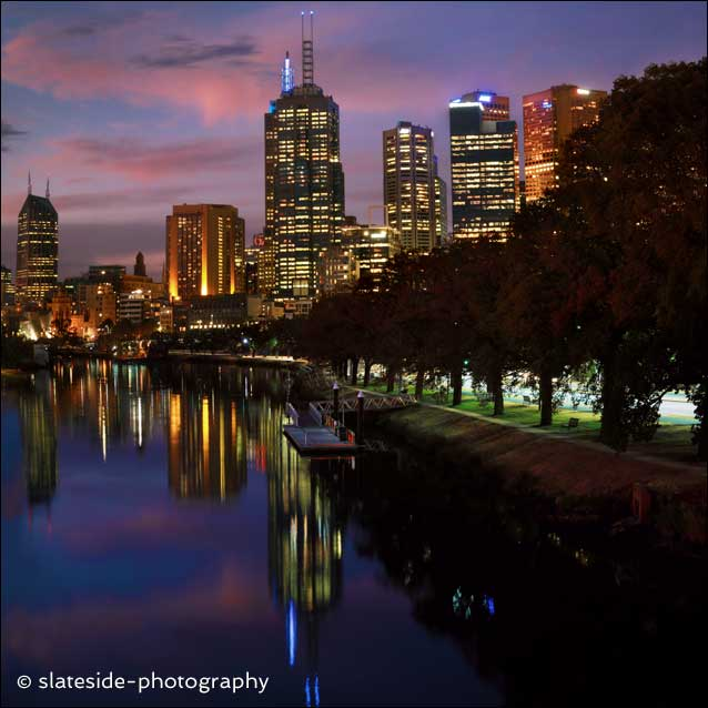 Melbourne city lights Australia view Yarra river