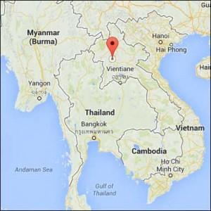 Laos Louangphabang mekong river