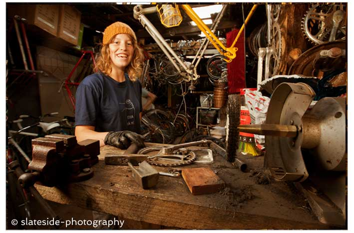 Girl Bike Workshop Environmental Portrait Melbourne