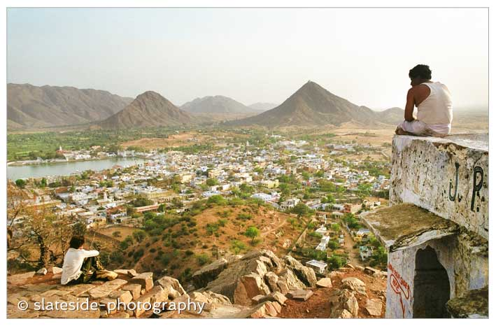 Pushkar India travel photography hill view